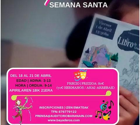 Campamentos de artes escénicas para la semana de pascua en Auditorio Barañain