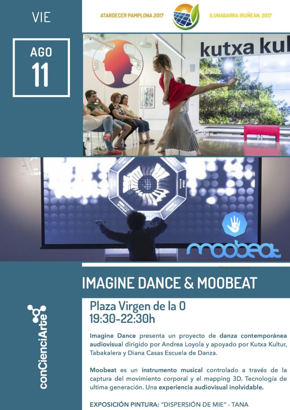 Cartel Imagine Dance en Atardecer Pamplona 2017
