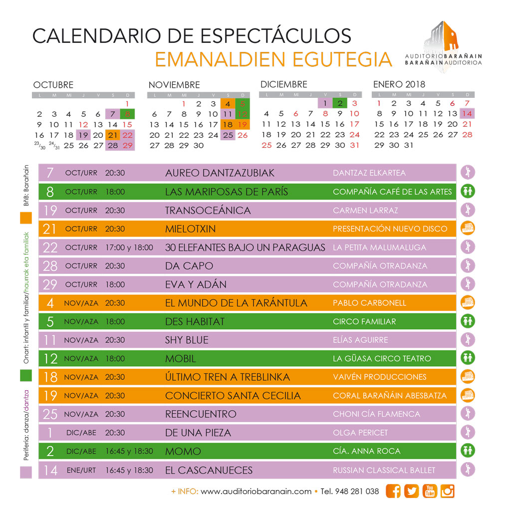 calendario espectáculos